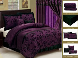 7 Piece Faux Silk Satin Comforter Set Bedding-in-a-bag, Purple Black- QUEEN
