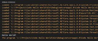 Debug console output