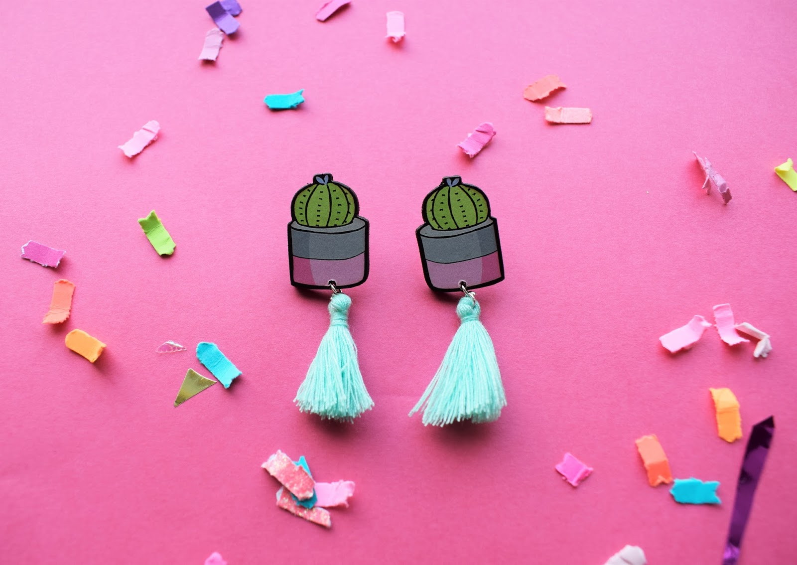 jewellery club subscription box cactus illustrated jewellery, confetti, cactus party, succulent jewellery, terranium jewellery