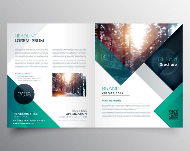 Green business brochure template Free Vector