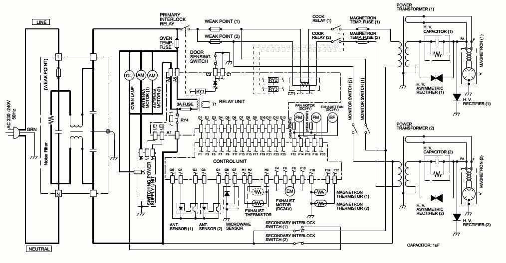 Electro Help Microwave Oven Circuit Diagram Sharp Model R
