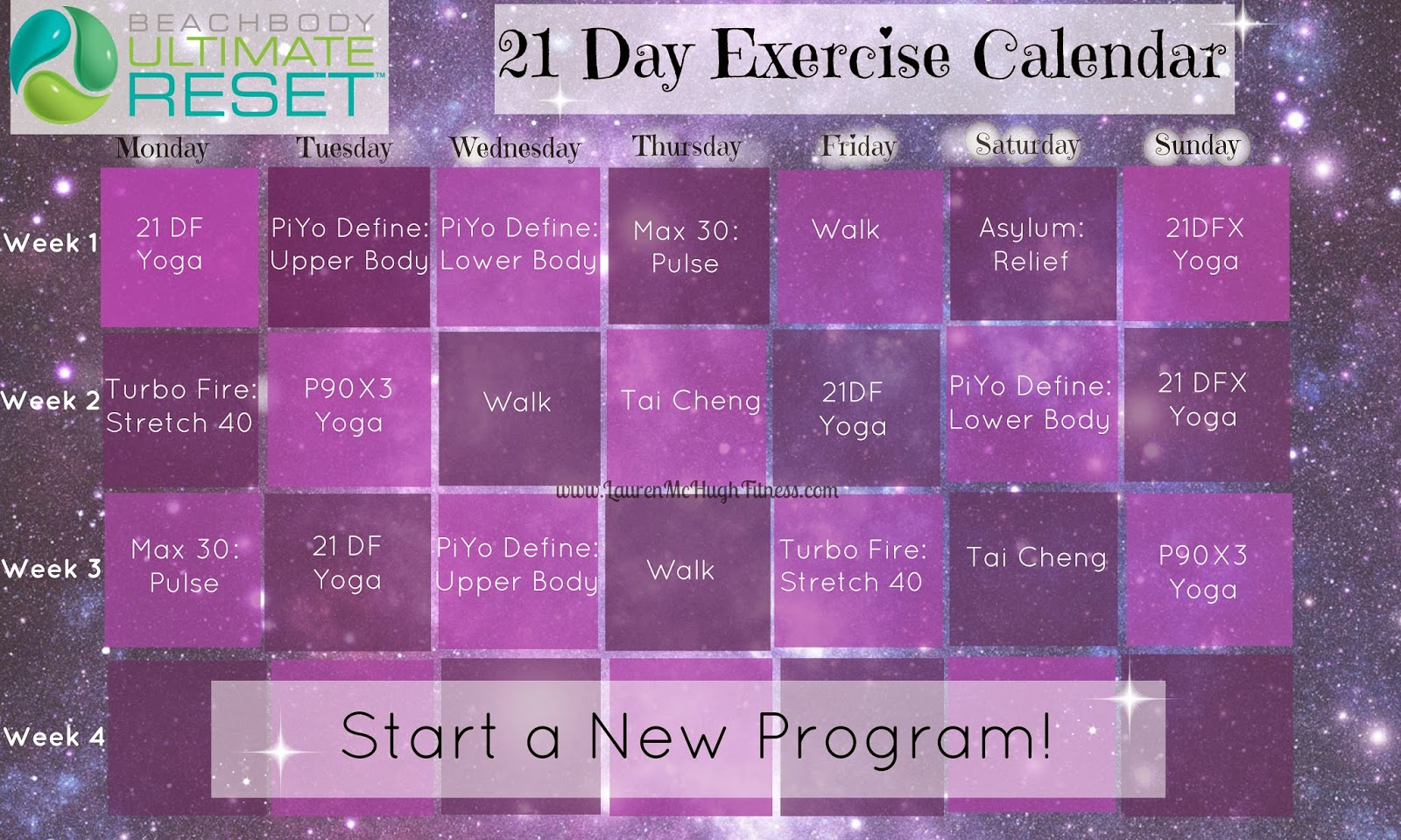 Ultimate Reset Exercise Calendar | Lauren McHugh