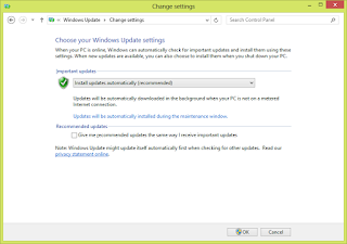 Tampilan Pengaturan Windows Update pada Windows 8