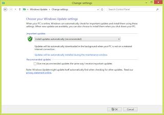 Tampilan Pengaturan Windows Update pada Windows 8