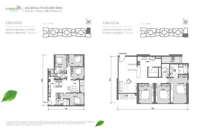 căn 5, 6 tầng 4 đến 39 Vinhomes Gardenia