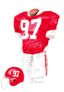 1986 Alabama Crimson Tide football uniform original art for sale