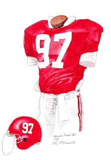 1986 Alabama Crimson Tide football uniform original art for sale