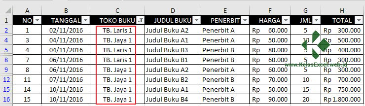 Autofilter Data Pada Excel 11