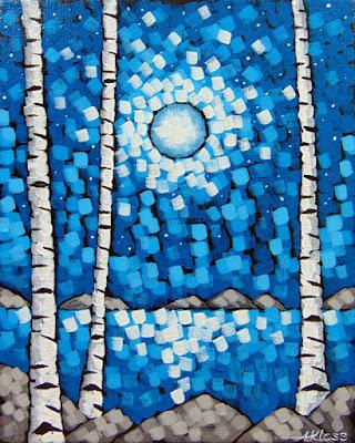 Stars acrylic painting on canvas by artist aaron kloss, night painting, duluth mn painter, pointillism, lake superior night painting