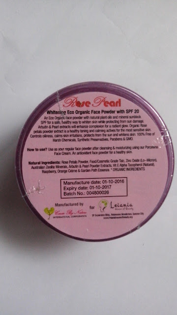Rose Pearl Whitening Eco Organic Face Powder with SPF 20 review