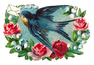 bird love note romantic image rose digital clipart artwork