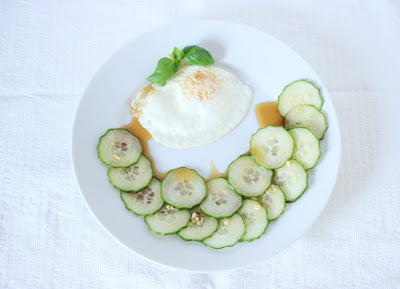Chinese food - Cucumber salad with fried egg