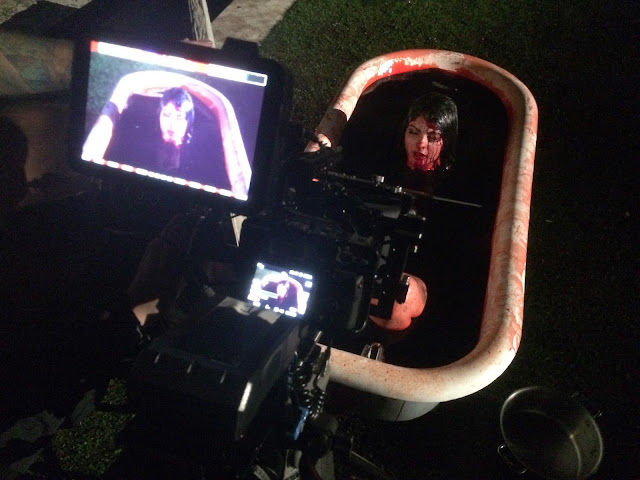 Actress writer producer  Pandie Suicide filming Blood Bath