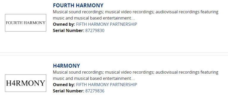 Se registran los nombres 'Fourth Harmony' y 'H4rmony' pertenecientes a Fifth Harmony