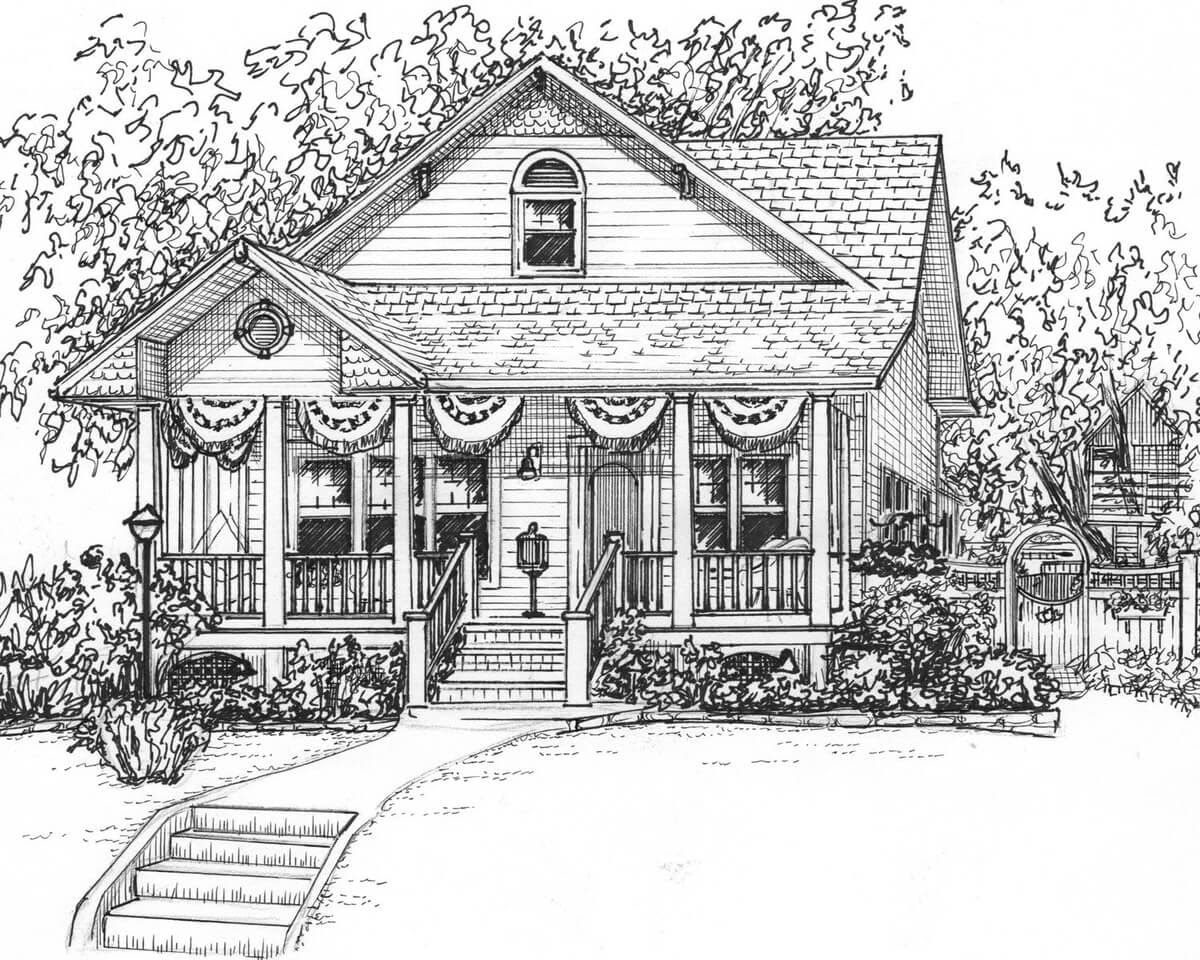 11-Custom-ink-house-drawing-Mary-Frances-Smith-Architecture-Expressed-in-House-Drawings-www-designstack-co