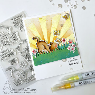 You Make Me Smile Card by Samantha Mann for Newton's Nook Designs, Stencil, Distress Inks, Embossing Paste, Just Because, Cards, Handmade Cards #newtonsnook #cards #distressinks #summer #handmadecards