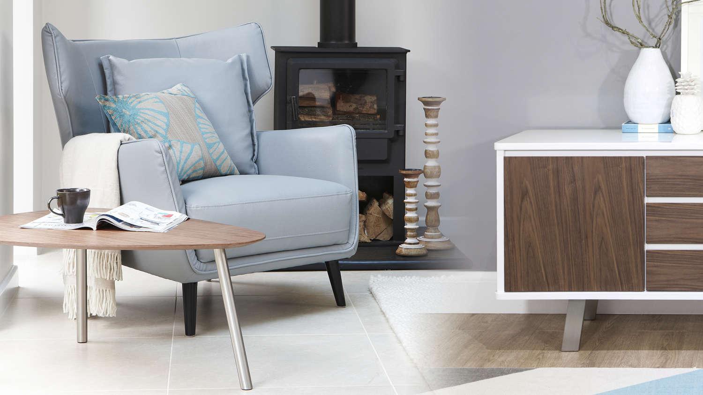 pastel blue armchair