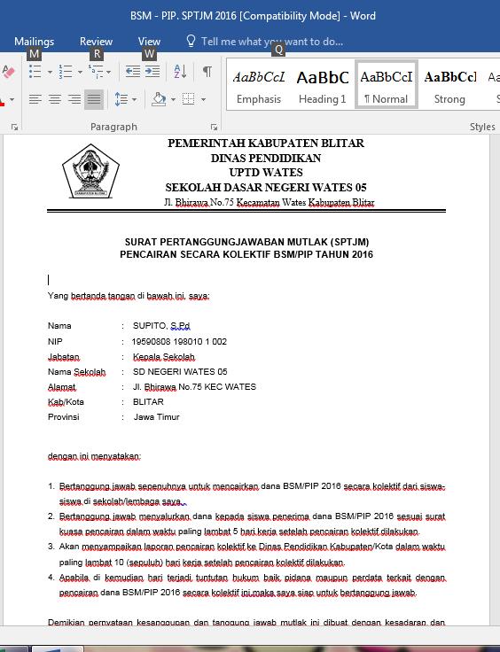 contoh surat pertanggung jawaban mutlak sptjm bsm pip ngintip sekolah info seputar