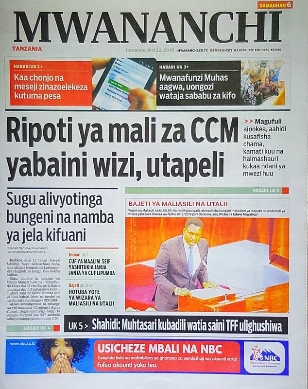 Sugu Atinga Bungeni na Namba ya Jela Kifuani..Habari Zilizopo Katika Magazeti ya Leo Jumanne ya May 22