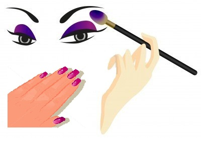 Contact lenses, Nails and Eye Makeup