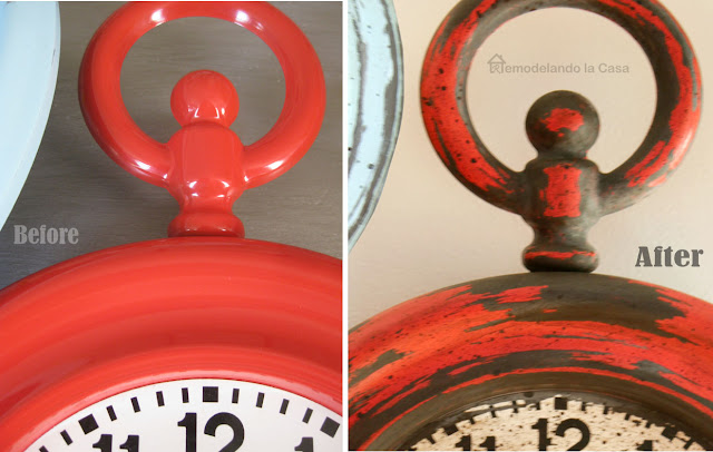 red shiny clock before and rusted dull after