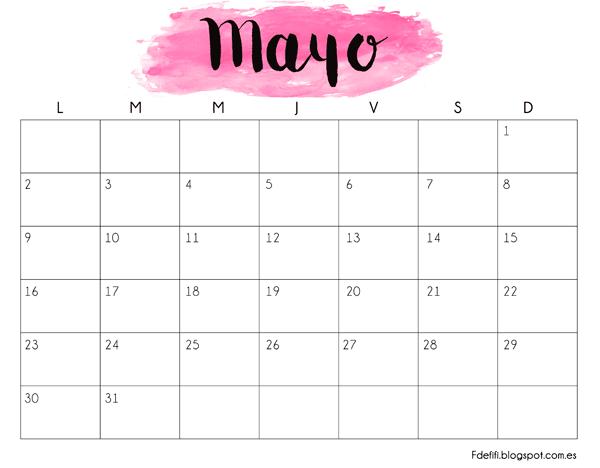 Calendario para descargar e imprimir - Mayo 2016