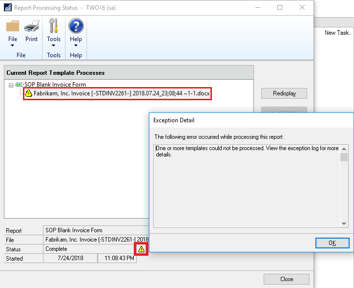 missing dexterity shared components cause word templates processing