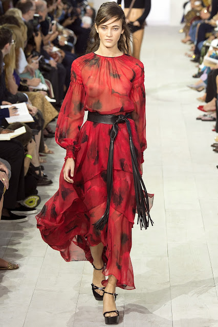 Michael Kors Collection SS 2016 red transparent dress
