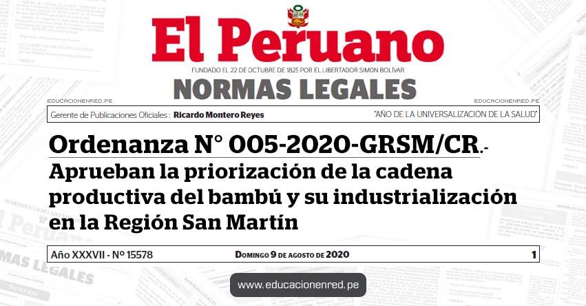 Ordenanza N° 005-2020-GRSM/CR.- Aprueban la priorización de la cadena productiva del bambú y su industrialización en la Región San Martín
