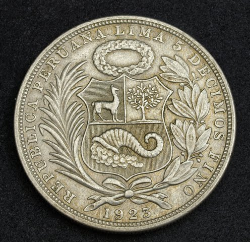 Republic Of Peru Silver One Sol Coin Dated 1923 World