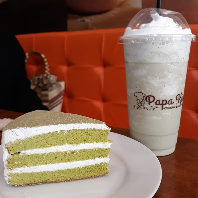 Green tea pair-  Green tea frappe and Fresh cream green tea cake slice.  Ain't it obvious by now that I love all things matcha?