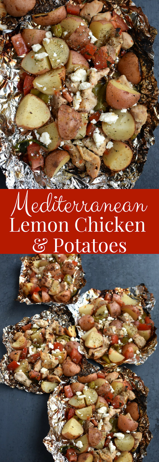 Mediterranean Lemon Chicken and Potatoes are cooked on the grill in a foil packet and are ready in under 30 minutes! Filled with red potatoes, lemon chicken, tomato, dill, green pepper and feta cheese. www.nutritionistreviews.com