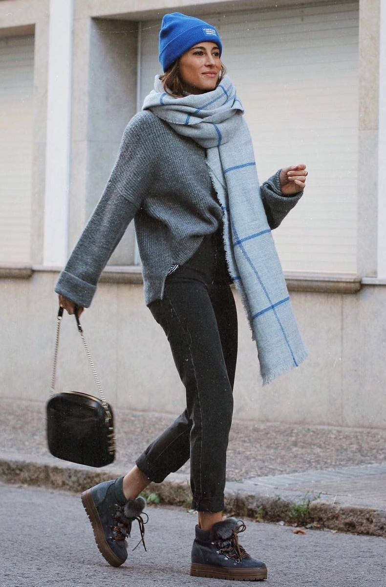 comfy look | blue hat + plaid scarf + grey sweater + bag + boyfriend jeans + boots