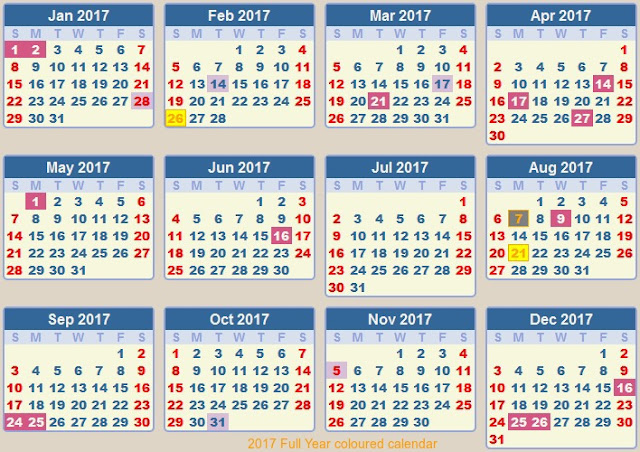 full year 2017 holiday calendar, colored 2017 printable calendar