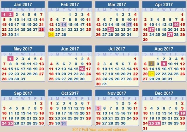 full year 2017 holiday calendar, colored 2017 printable calendar