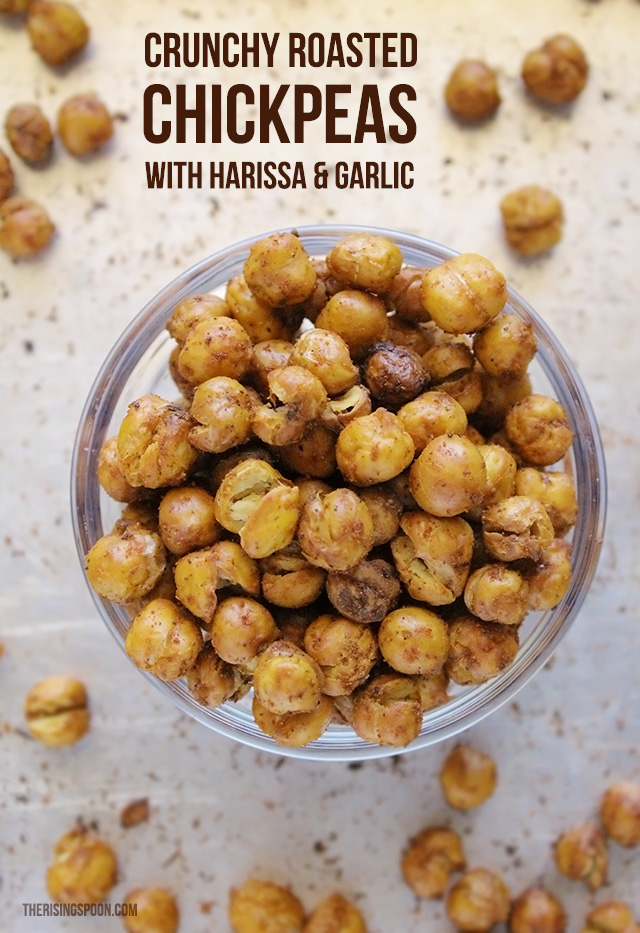 Crunchy Roasted Chickpeas with Harissa and Garlic
