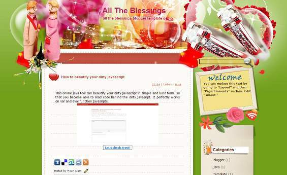 All the blessings -  Love Blogger Template - romance blog