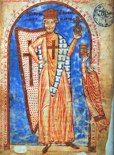 Frederick I as portrayed in a document in the Vatican library dated 1188