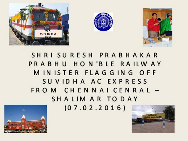 Hon'ble MR Flagging off of A/C Suvidha Exp from Chennai Central - Shalimar.