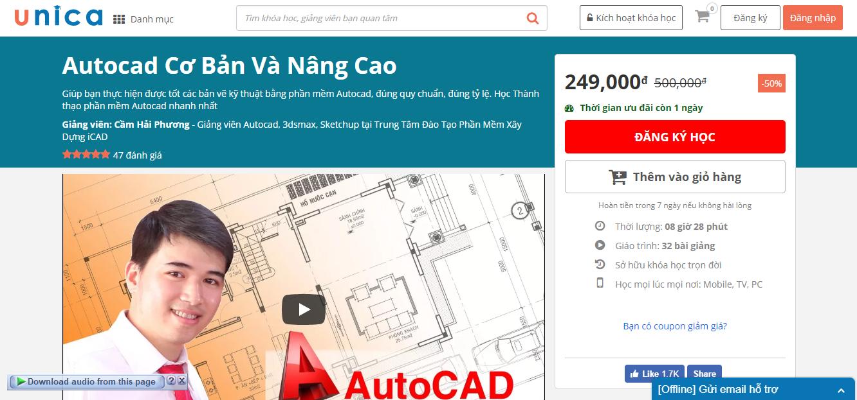 [UNICA] Autocad Cơ Bản Và Nâng Cao trị giá 500.000 vnđ