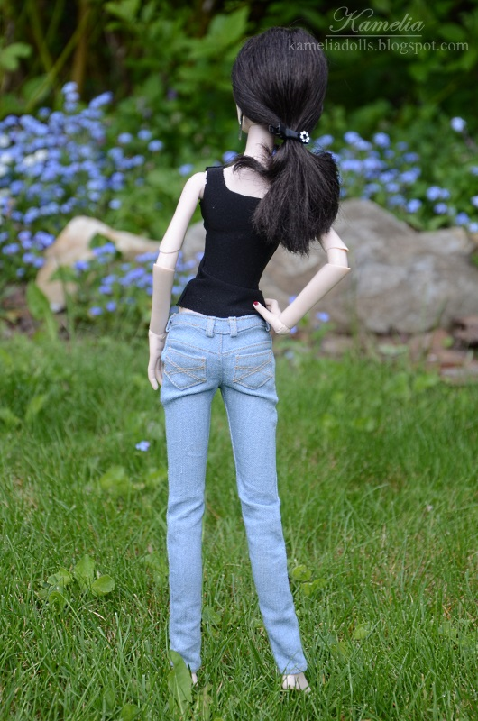 Realistic jeans for Evangeline Ghastly doll