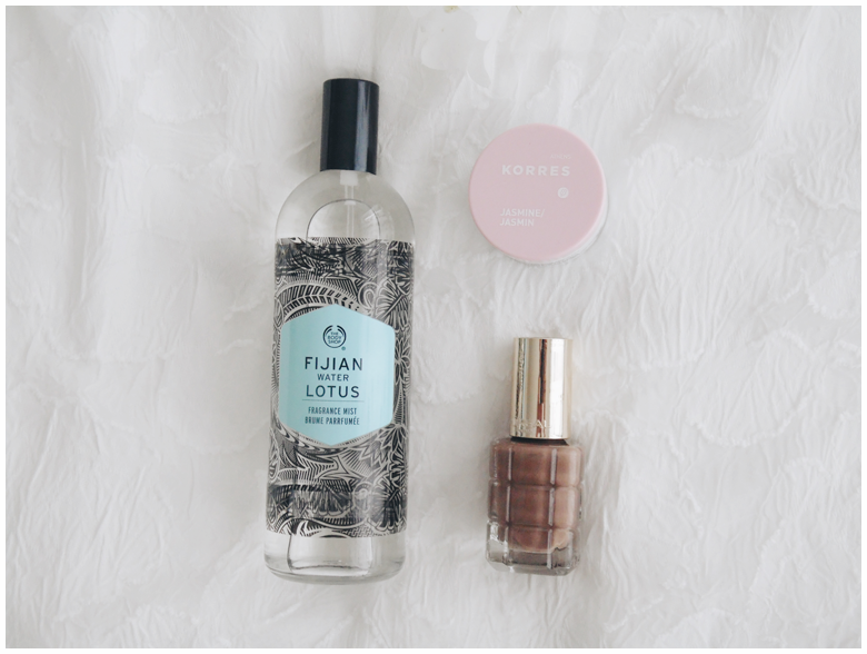 the body shop fijian water lotus fragrance mist, korres lip butter jasmine, l'oreal nail polish moka chic