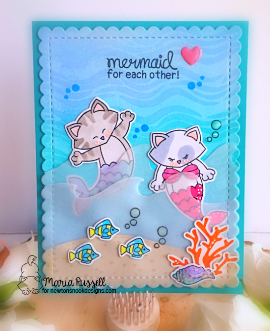 Purr-maid Cat Mermaid Card by Maria Russell | Purr-maid Newton Stamp Set by Newton's Nook Designs #newtonsnook #handmade