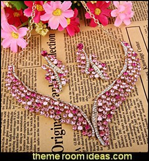 Crystal Graceful Wing Flower Necklace Earrings Set