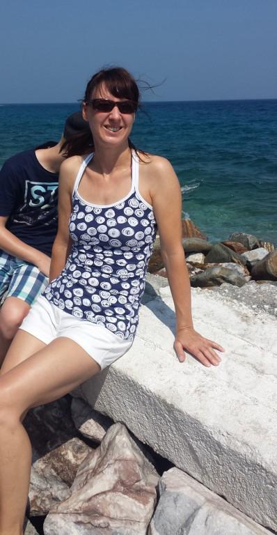 Trägershirt blau- weiß