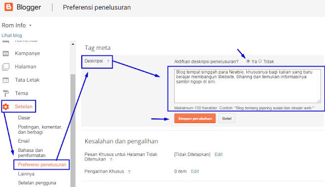 Cara Menampilkan Deskripsi Penelusuran Pada Blog dan Postingan
