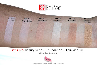 Ben Nye ProColor Airbrush Foundations Fair/Medium Swatches