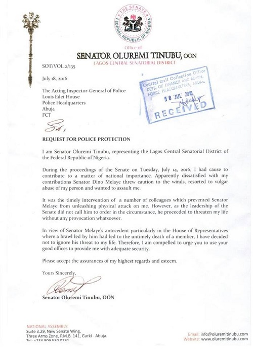 Melaye Is A 'Known Killer', Tinubu Alleges, Writes Police IG As Brawl Gets Messy, See Raw Copy of Letter