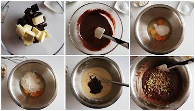 pasa a paso para brownie de chocolate y pistachos