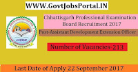 Chhattisgarh Professional Examination Board Recruitment 2017– 213 Assistant Development Extension Officer